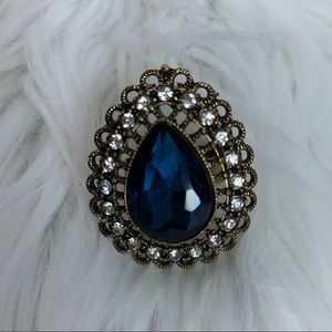 Blue/ gold jeweled fashion adjustable band ring